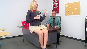 Blonde college girl and her teacher