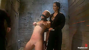 Audrey had her breast bound & huge mouth properly gagged.Nipples clamped and made to cum, & cum!