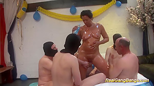 oiled moms first real gangbang
