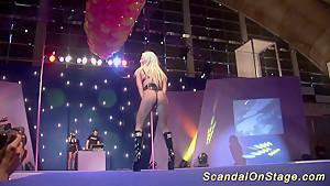 wild public dildo sex show