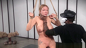 Flogged sub whore restrained and punished-