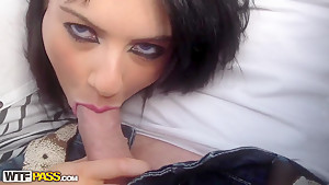 Arousing brunette Ella sucks a meaty dick in bedroom