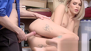 Emma hix super cute teen on desk fucked by mall cops after being busted shiplifting