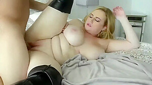 BBW chick in stockings having fun with her boss on vacation-