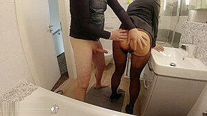Fucking Wife In Business Look Quickly Before Office Work Cum Into Pantyhose