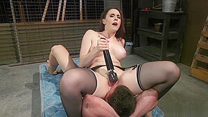 Brunette gives dick torment to male-