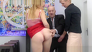 Submissive blondie sucks dick while GILF rubs her wet snatch-