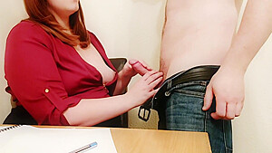 Chubby Teacher has Ass marked over Papers-