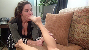 Girl Worships The Feet Of An Old Granny