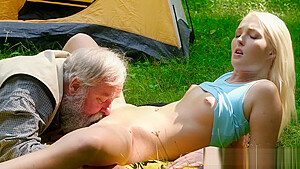 Lovita fate fucks old man outdoors