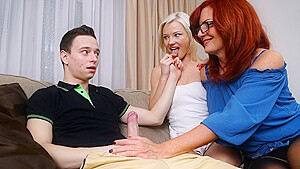 Mature Mom Persuaded A Young Couple To Have A Threesome On The Couch
