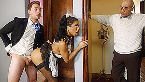 The mulatto in the uniform of a maid cheating with her Horny lover...