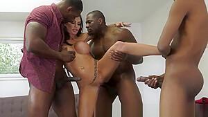 Milf gets big boobs jizzed by black dongs
