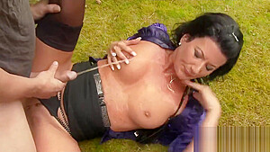 Staggered babe in undies is geeting urinated on and drilled