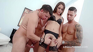 Teen brunette with hairy pussy, Avi Love got fucked in the ass, during a casual gangbang