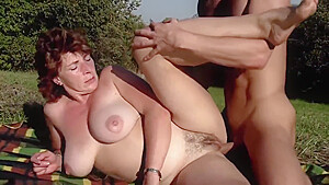 Older Woman Has Fun With Her Toy Boy Outdoors