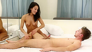 Petite brunette bitch in white Lexi Dona needs to take a big dick right now