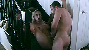 Busty porn star, Brandi Love and a handsome male, James Deen are fucking in the porn studio