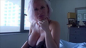 Busty blonde woman, Casca Akashova is giving a blowjob to her step- son and getting fucked