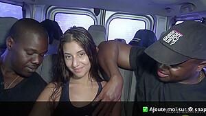 Anna very sexy french fucked by 2 blacks