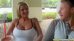Hot MILF blonde enjoying massage from a stranger