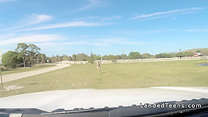 Blonde cowgirl teen bangs stranger in a truck