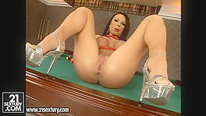 Sinful big tittied brunette gal masturbates