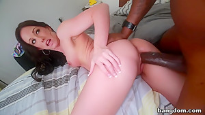 Interracial anal sex with petite brunette...