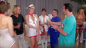 Nurses Giving A Hot Blowjob And Deepthroat In A Reality Show-