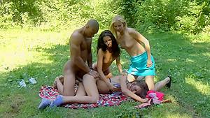 Albina & Hailey Ariana & Felony & Lindsey & Francheska & Angela in endowed black guy joins a lusty college orgy