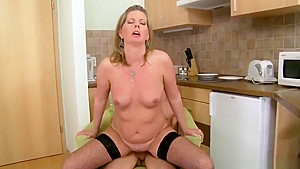 Good-looking bald experienced lady Laura Oswald getting cock been blowed