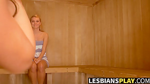 Hot pussy playing with Melissa and Jessie in the sauna