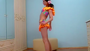 skinny teen gymnast stretching
