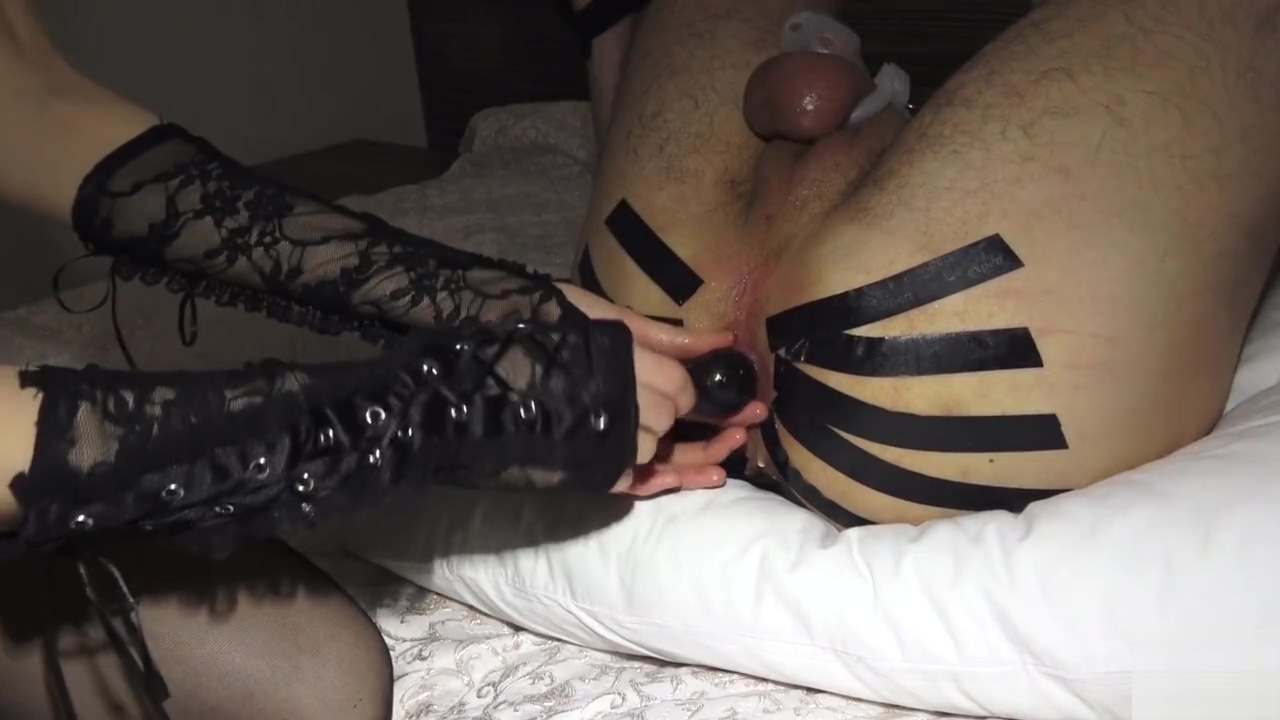 Pegging tight ass with strapon and prostate massage for my slave
