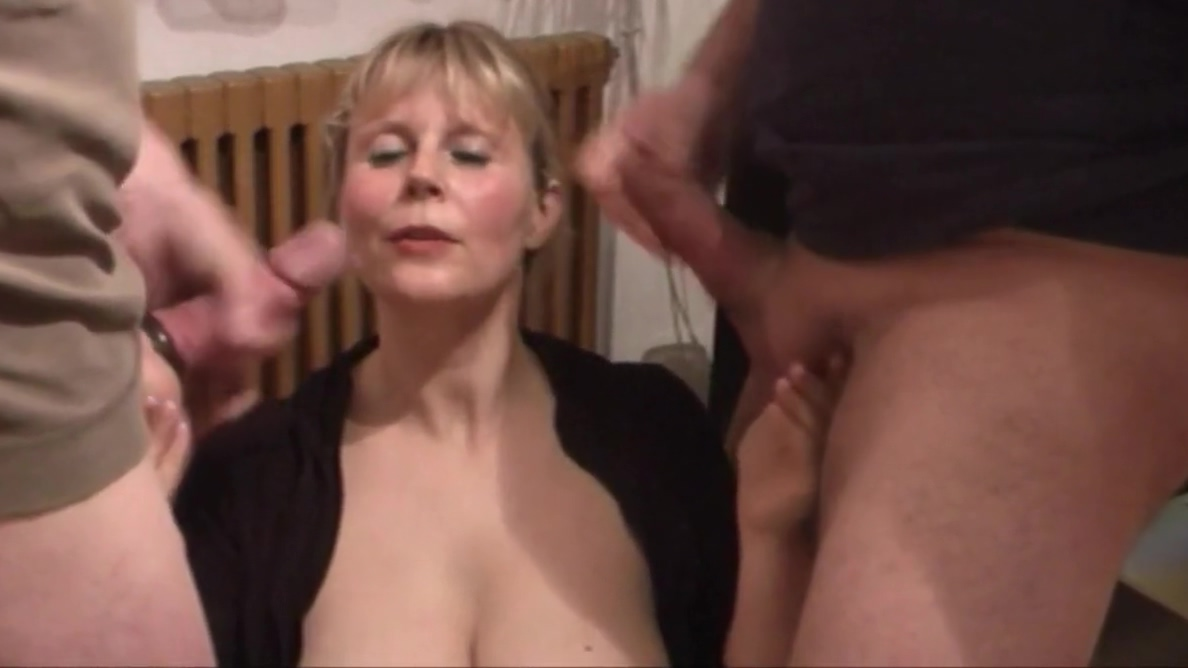 Sweet milf lets 2 guys cum over her face Fake agent fucks two sexy friends
