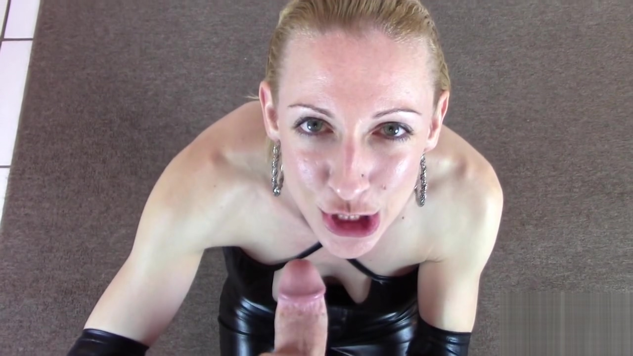 Leather Clad Slut Gives POV Blowjob and Handjob for Cumshot Across Big Tits japanese facial massage wrinkles