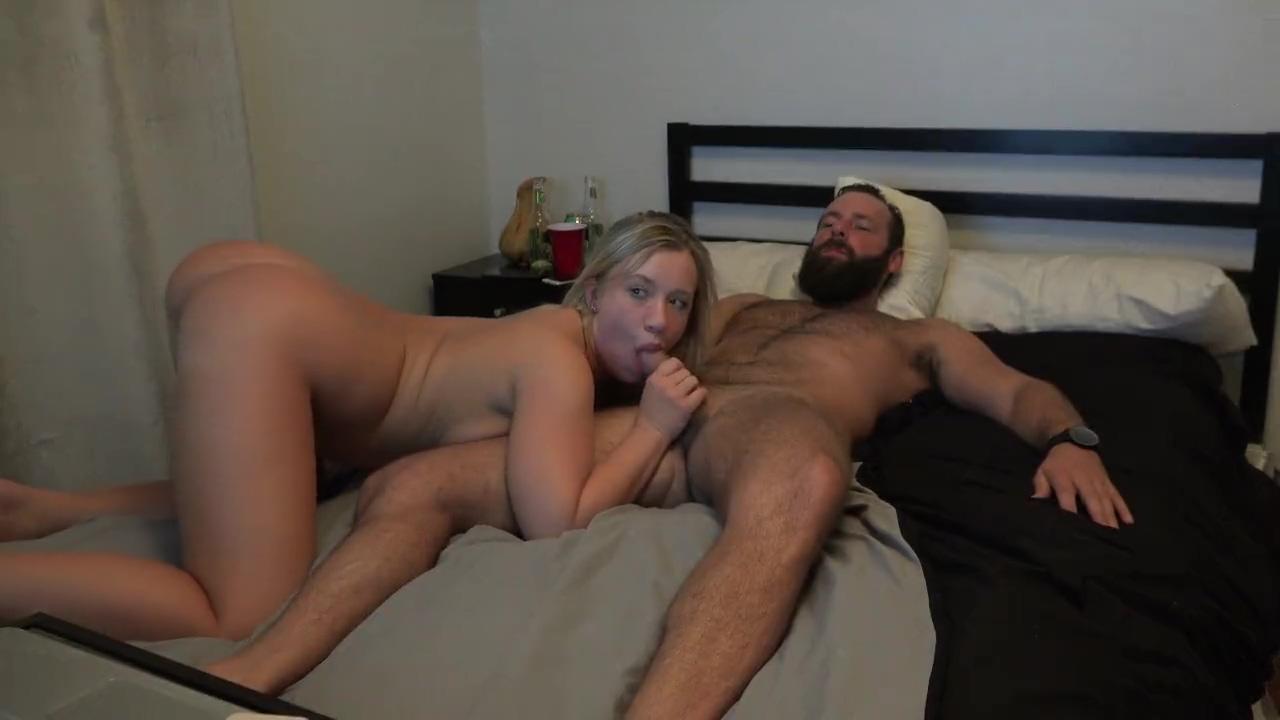Hot Blonde Rides Dick on Webcam until she gets a Huge Creampie