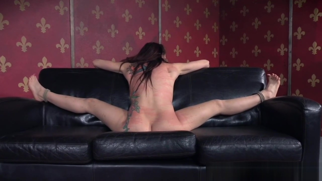 Sweet sub punished on the sofa in bdsm Girl Boy Sex Kiss