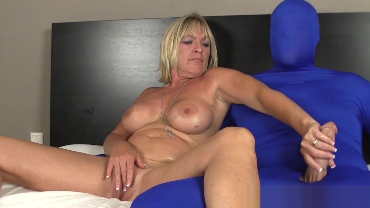 Busty mature slut wanks costumed mans cock Backyard Boogie