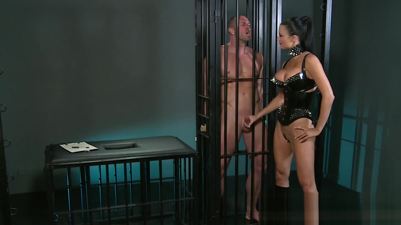 Caged sub gets handjob Hot milf with fat pussy