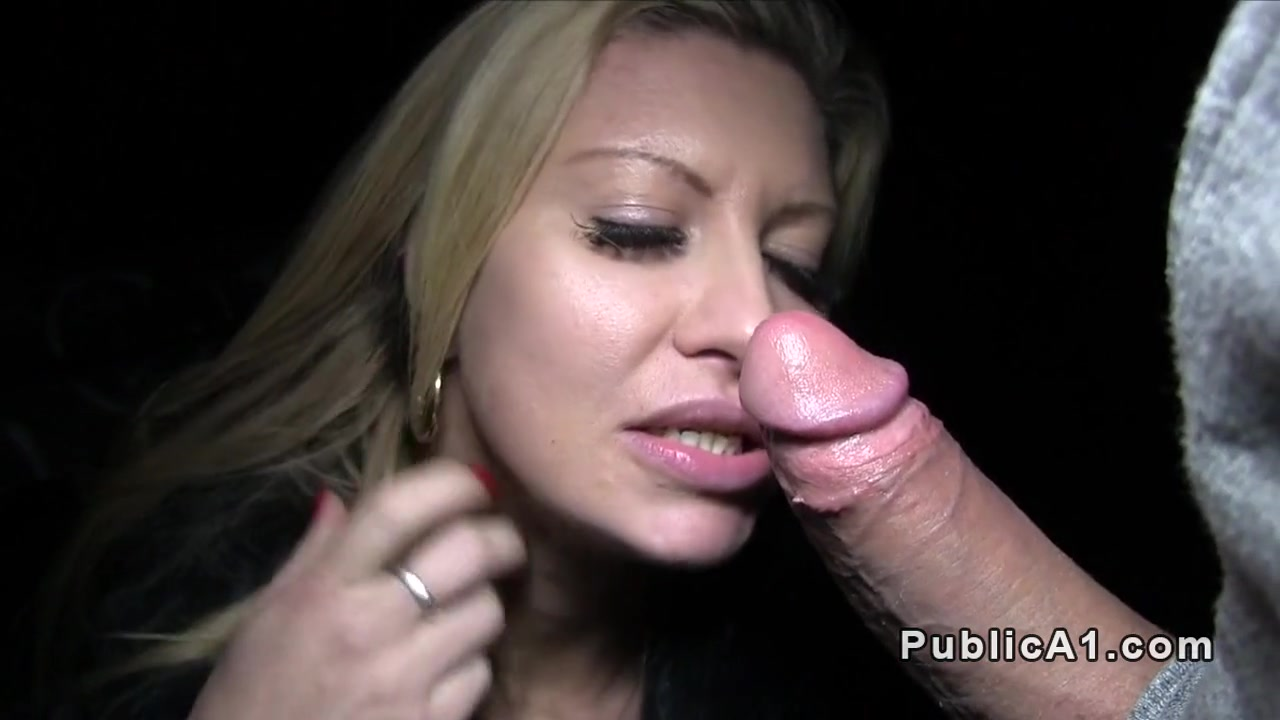 Blonde in coat bangs outdoor pov my first shemale blowjob
