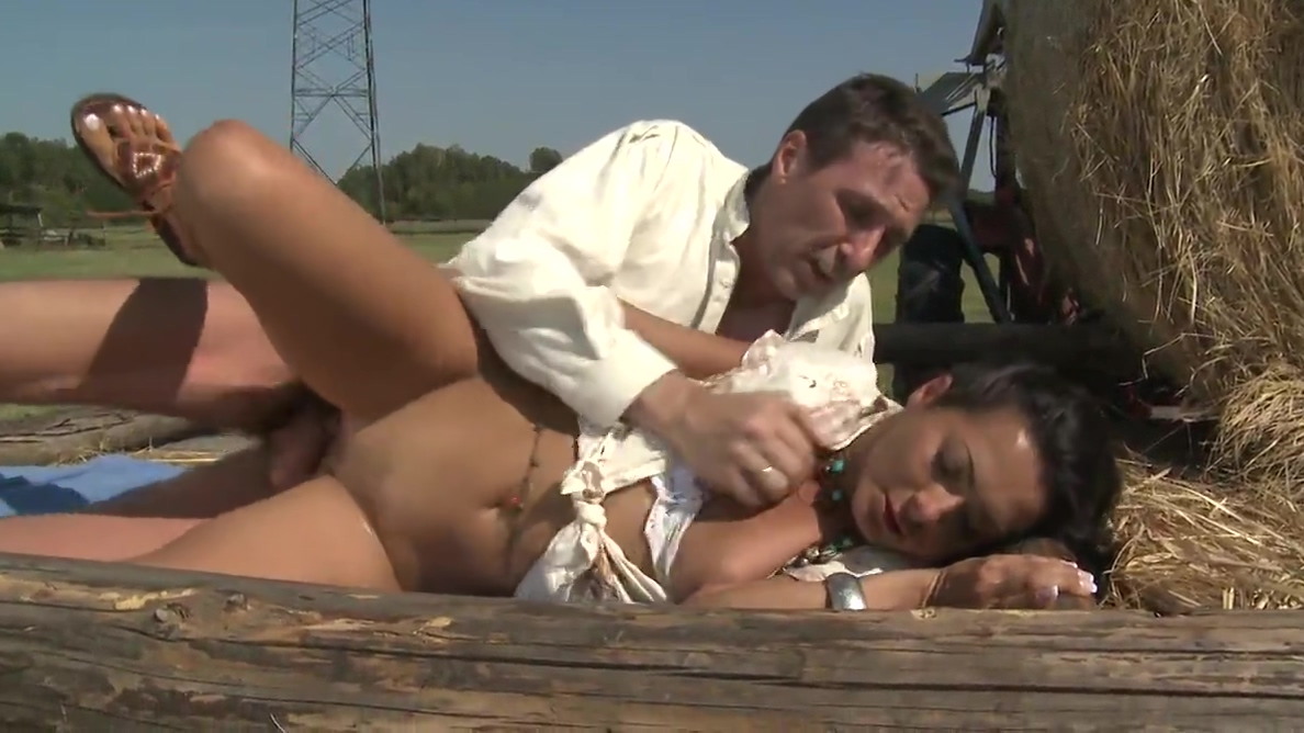 Sensual chic got a rough fucking outdoors at a ranch