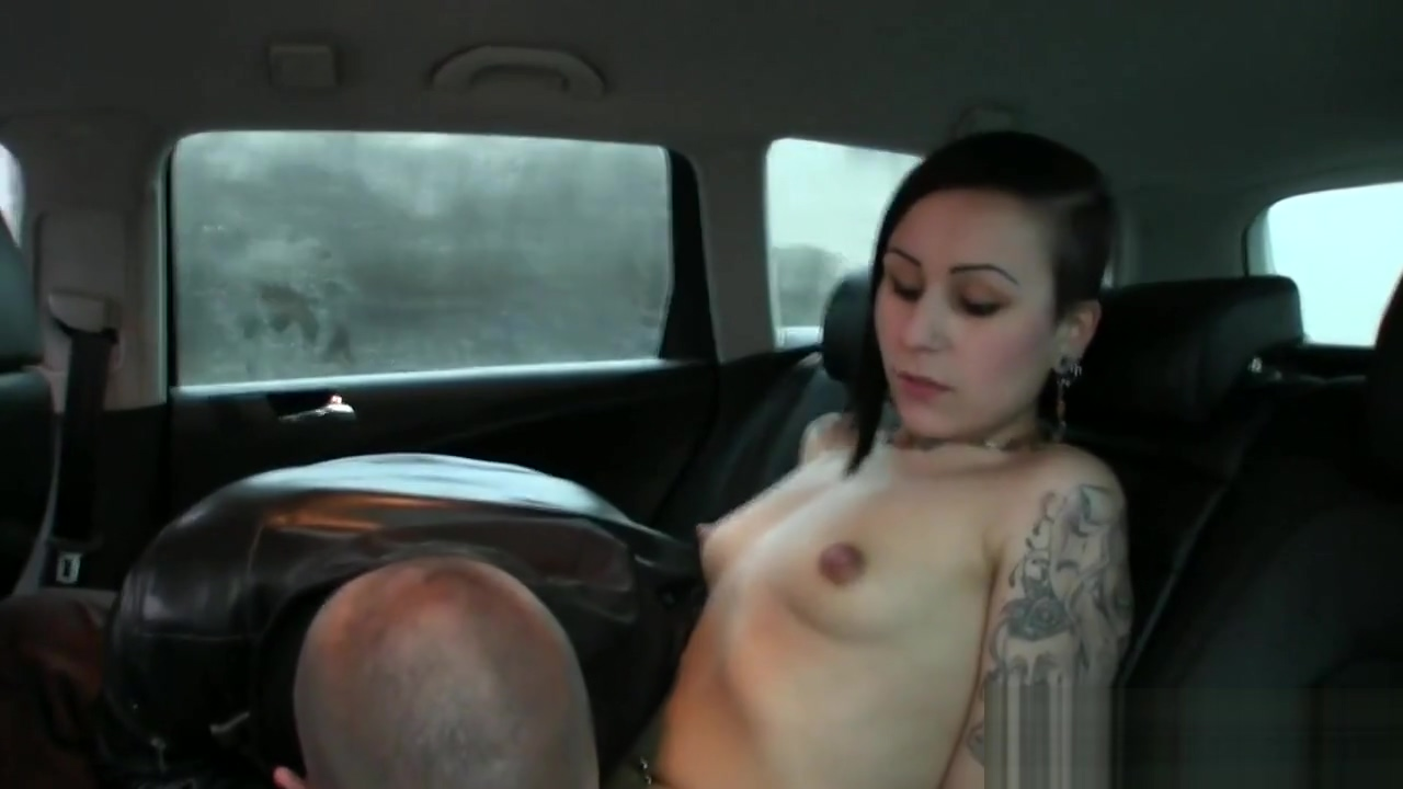 Couple fucking in fake taxi while moving in public