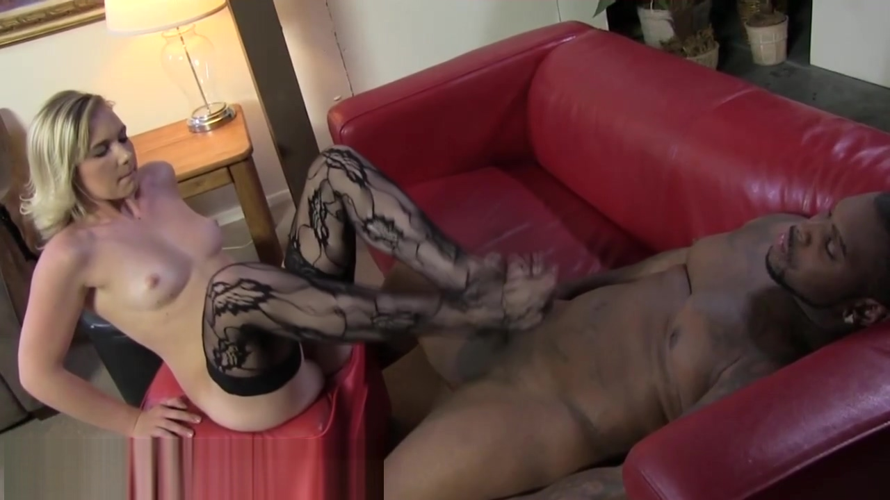 Stockings feet jizzed on Halloween slut hot sex