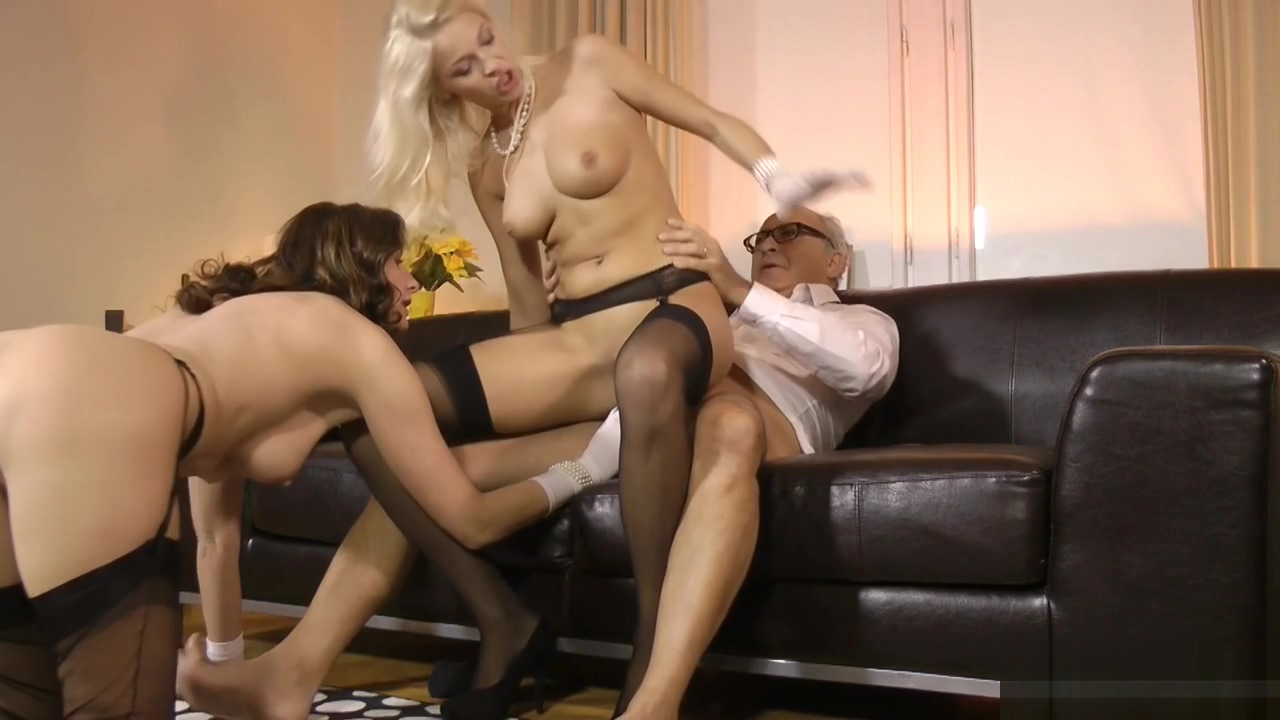 Busty british MILF and babe fucked by old man