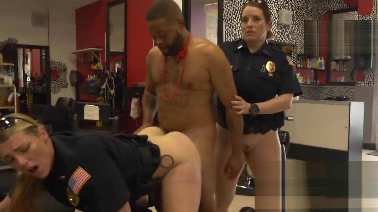 Horny milf cops break into a barbershop just to arrest a criminal Huge tits cock gif
