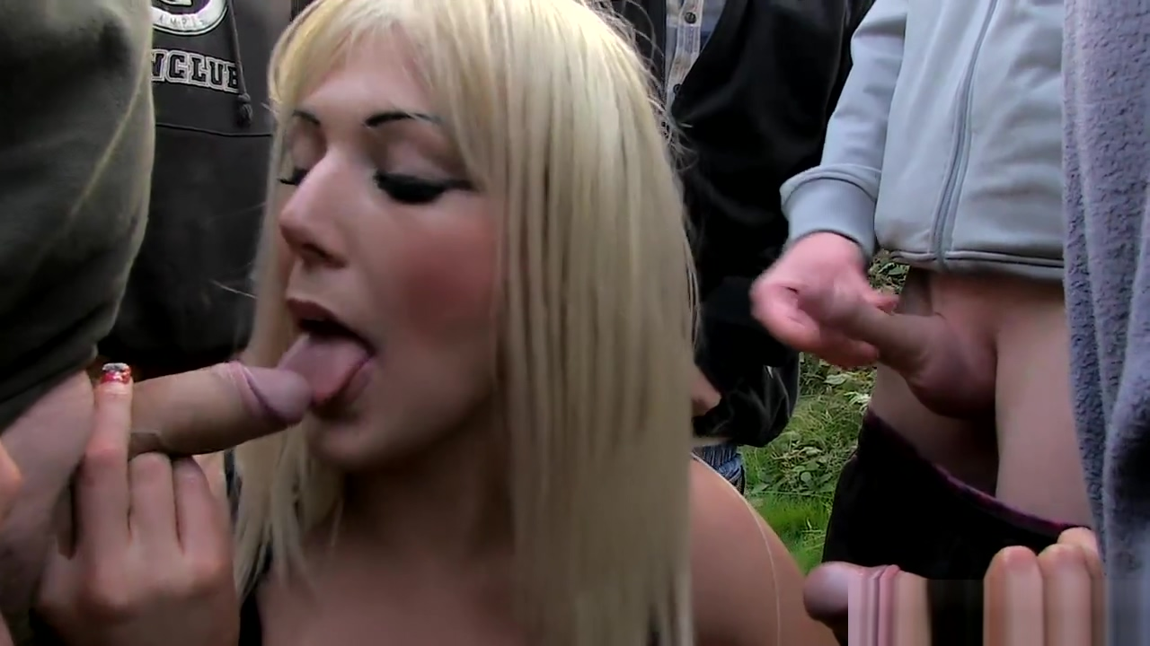 Blonde is overwhelmed with cock in a field