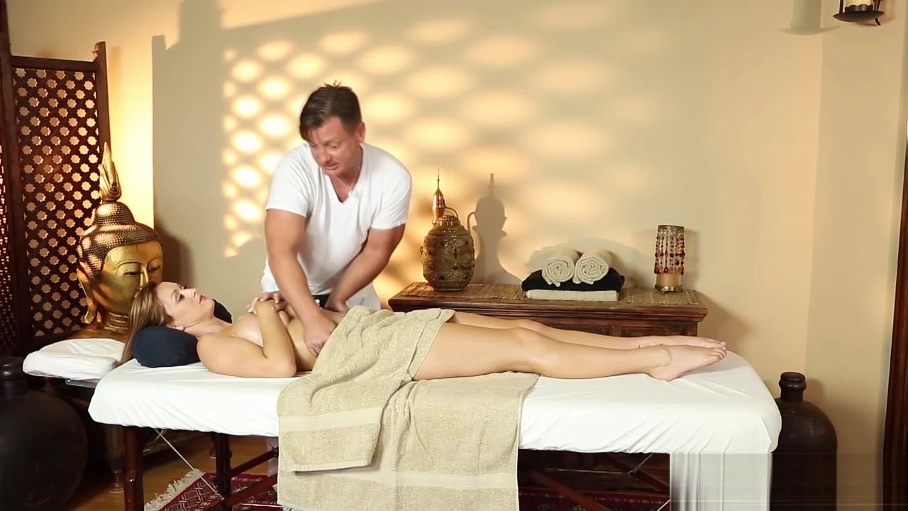 Brunette stunner massaged