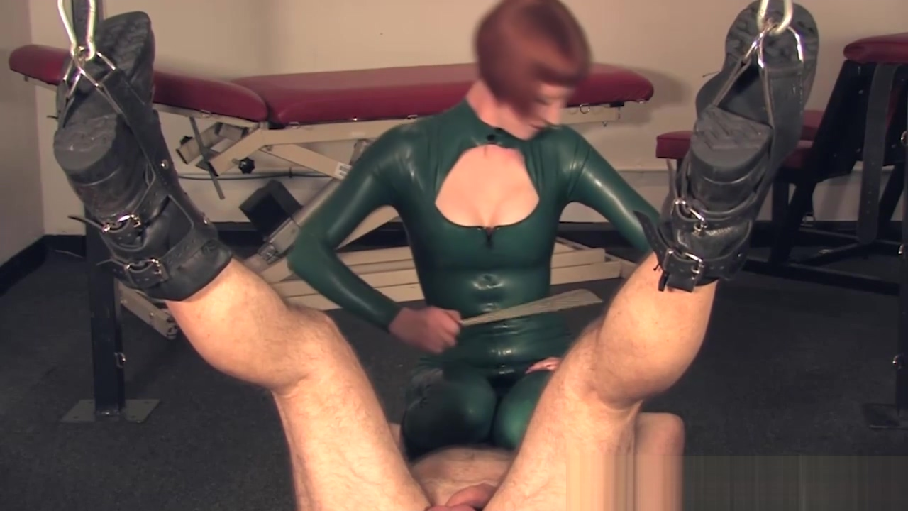 Stern redhead dominatrix trampling on her sub Dp sex video free