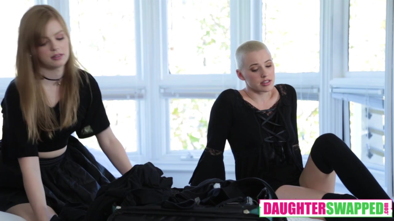 Dolly Leigh And Riley Nixon in Fatherly Alterations sexy black slip and stockings